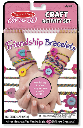 This is an image of girl's friendship bracelet craft activity set