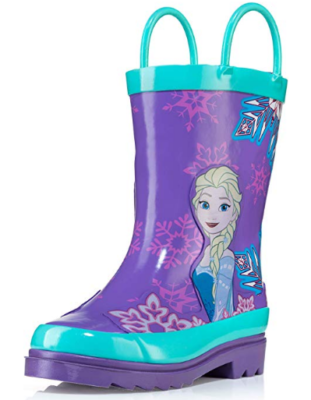 This is an image girl's Rain boots with frozen theme in blue and purple colors
