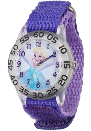 This is an image of girl's watch with frozen design in purple color