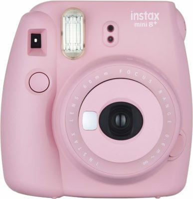 This is an image of a pink mini 9+ camera by Fujifilm.
