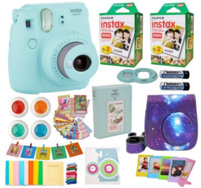 This is an image of girl's fujifilm mini camera pack in blue color