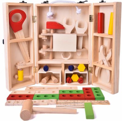This is an image of a 43 piece wooden tool box set by Fun Little Toys.