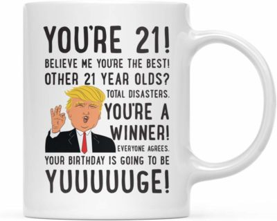 This is an image of a cup with funny Donald Trump texts by Andaz Press.