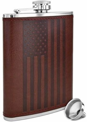 This is an image of a brown leather american flag flask for men by Future Hydrate.