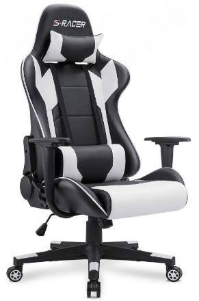 This is an image of boy's gaming chair in black and white colors