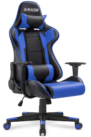 This is an image of boy's gaming chair in black and blue color