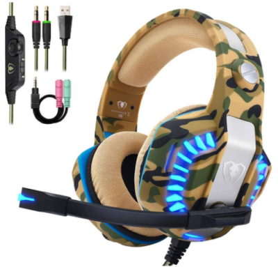 This is an image of boy's gaming headset in camoflage green and brown colors
