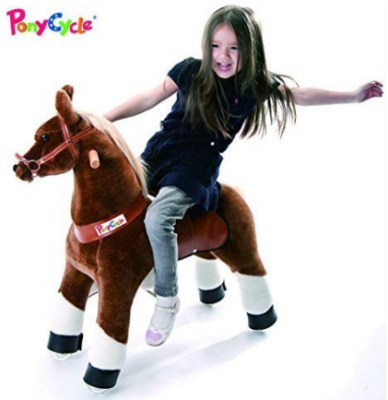 This is an image of kid's gear pony cycle chocolate in brown and white colors