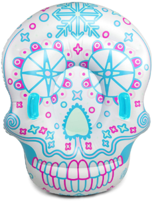 This is an image of kid's Giant inflatable snow sled with skull head design in white, pink and blue colors