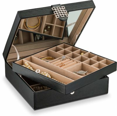 This is an image of a black jewelry box with 28 compartments by Glenor.