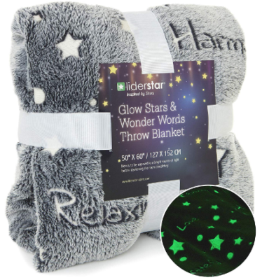 This is an image of girl's glow in the dark throw blanket in gray color