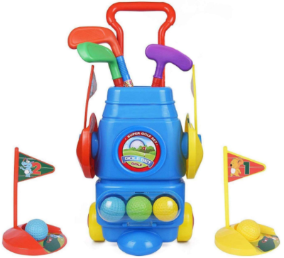 This is an image of boy's golf toy set in colorful colors