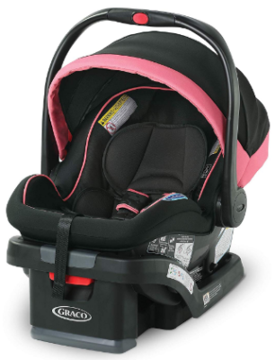 This is an image of infant car seat by graco in black and pink color