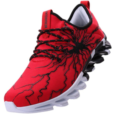 This is an image of boy's shoe with graffiti in red, Black and white colors by BRONAX