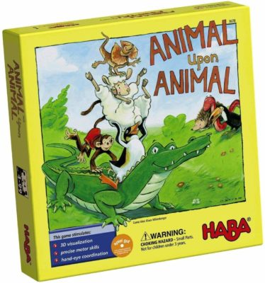 This is an image of a wooden animal stacking game for kids by HABA.