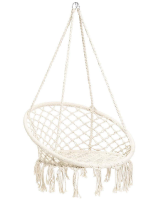 This is an image of kid's hammock chair in white color