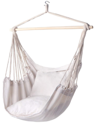 This is an image of girl's hammock chair rope swing in white color
