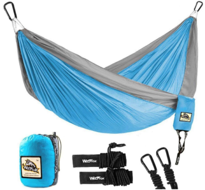This is an image of boy's hammock pack in blue and gray colors