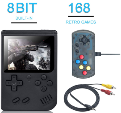 This is an image of kid's handgeld game console with remote control in black color
