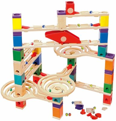 This is an image of a colorful wooden marble run toy by Hape.