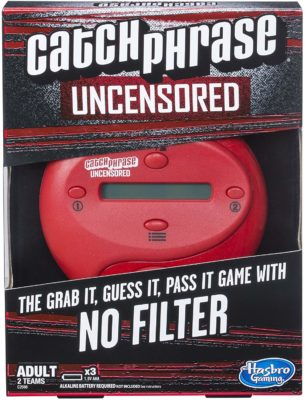 This is an image of a red catch phrase game by Hasbro Gaming.