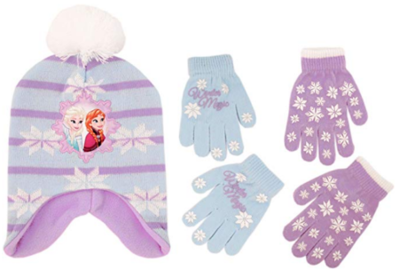 This is an image of girl's disney frozen hat and 2 pair gloves in colorful colors