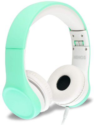 This is an image of girl's headphones in mint color