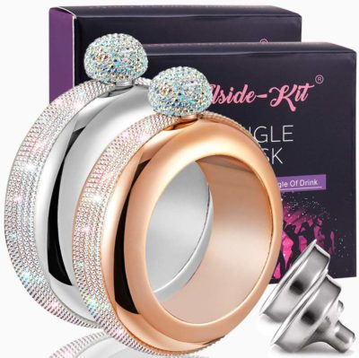 This is an image of a silver with rose gold stones flask bracelets by Hillside-Kit.