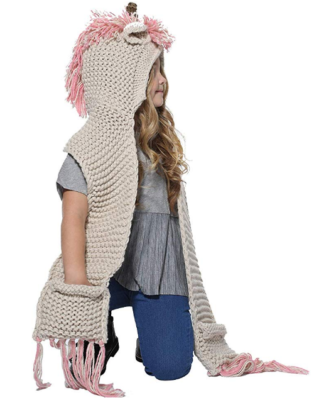 This is an image of girl's hood scarf beanies in pink and gray colors