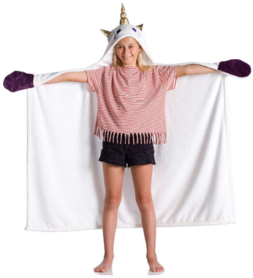 This is an image of girl's hooded blanket gift in white color