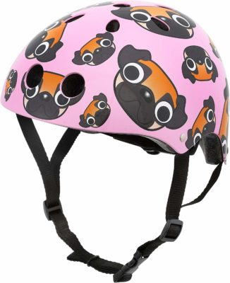 This is an image of a multi sport helmet with pug prints designed for kids by Hornit.