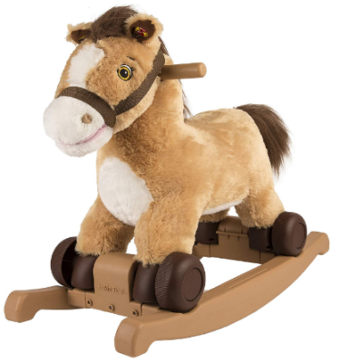 This is an image of kid's horse ride on in brown and white colors