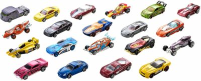 This is an image of a 20 piece Hot Wheels cars gift set.