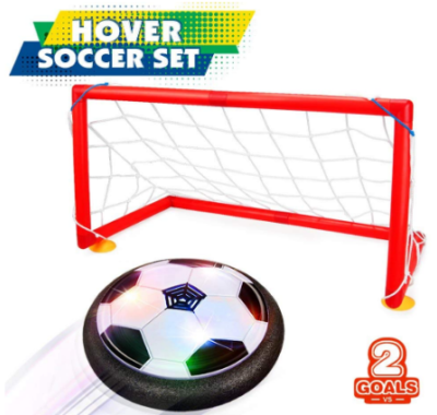 This is an ilmage of boy's hover soccer ball set with 2 goals in red color