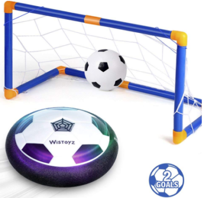 This is an image of boy's hover soccer ball set with 2 goals in blue color