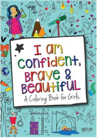 This is an image of girl's coloring book i am confident; brave and beautiful