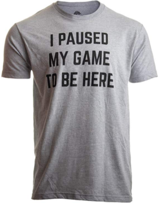 This is an image of boy's I paused my game to be here T-shirt in gray color