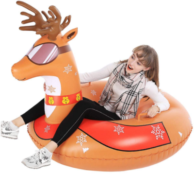 This is an image of kid's inflatable snow sled in brown color