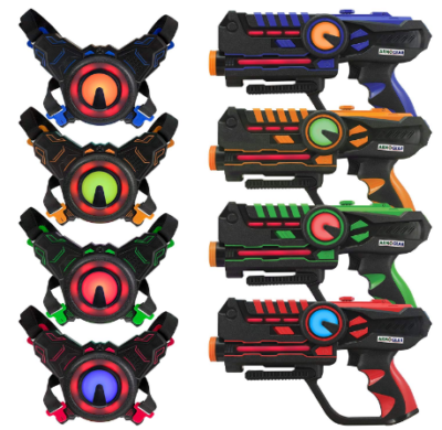 This is an image of boy's Infrared laser tag blasters and vests pack with 4 pieces in colorful colors