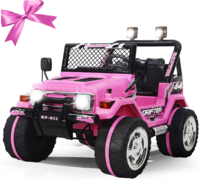 This is an image of girl's power wheels jeep in pink color