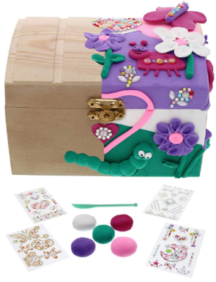 This is an image of girl's craft your jewelry box in colorful colors
