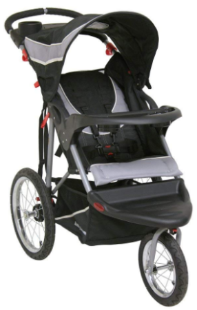 This is an image of mom's jogger stroller with 3 wheels in black color