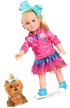 This is an image of gril's jojo siwa doll in multi colors