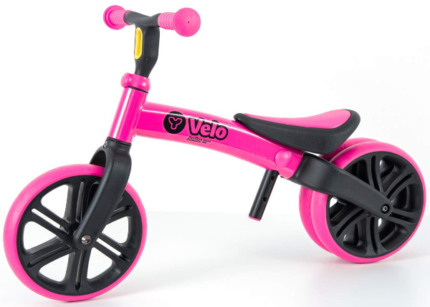 This is an image of toddler's balance bike in black and pink colors