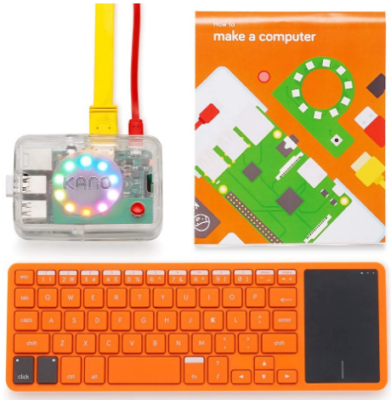 This is an image of kid's kano computer kit in orange color