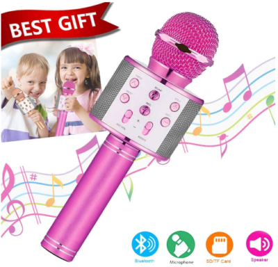This is an image of girl's karoake microphone with sounds in pink color