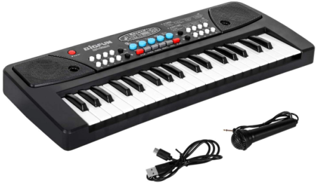 This is an image of boy's keyboard piano with microphone in black color