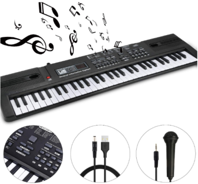 This is an image of kid's keyboard piano portable with accessories in black color