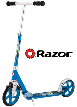 This is an image of kid's kick scooter in blue color