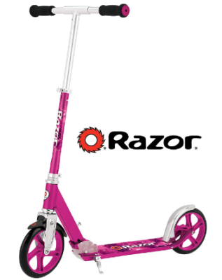 This is an image of girl's kick scooter in pink color